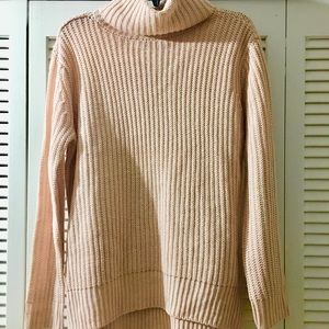 Pale Pink Turtleneck Sweater, Size M